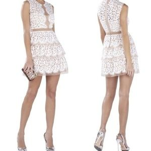 Sophea Tiered Lace Peplum Off White Lace Dress 4